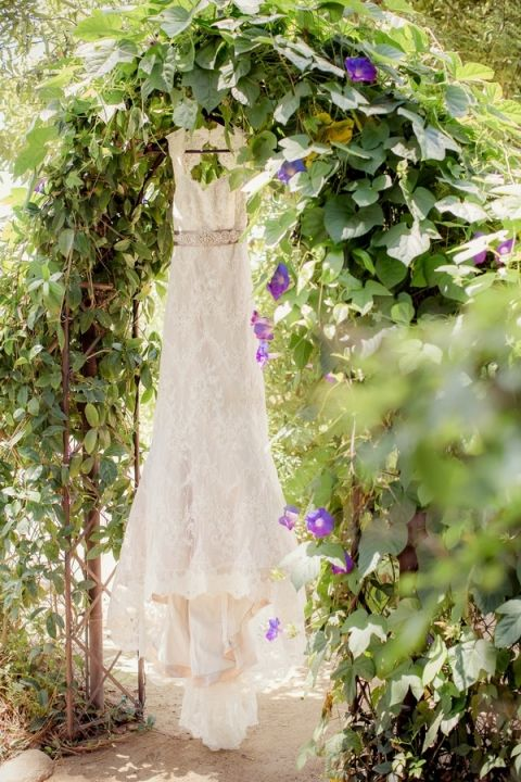 Classic Lace Wedding Dress hanging in a Flowering Arbor | Figlewicz Photography | See More! https://heyweddinglady.com/classic-garden-wedding-in-rich-purple/