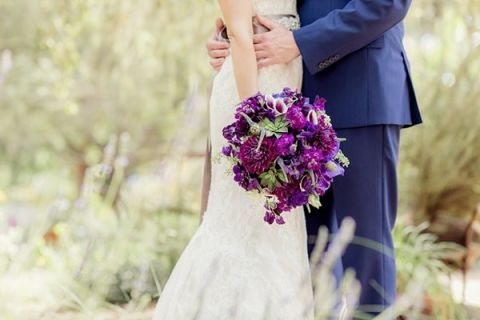 Hand Tied Garden Wedding Bouquet in Rich Purple | Figlewicz Photography | See More! https://heyweddinglady.com/classic-garden-wedding-in-rich-purple/