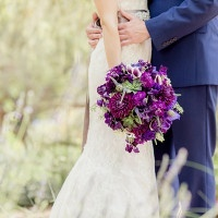 Hand Tied Garden Wedding Bouquet in Rich Purple | Figlewicz Photography | See More! https://heyweddinglady.com/classic-garden-wedding-in-rich-purple/