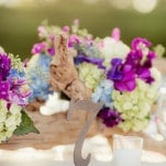Ghost Wood Centerpieces with Hydrangeas and Orchids | Figlewicz Photography | See More! http://heyweddinglady.com/classic-garden-wedding-in-rich-purple/