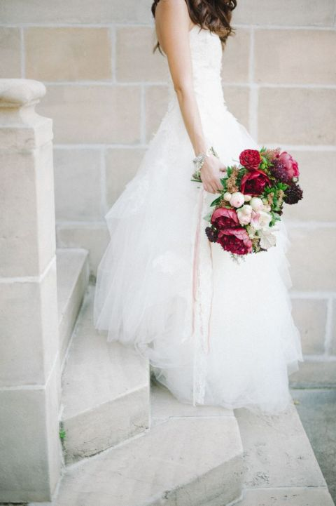 Ball Gown and Loose Burgundy Peony Bouquet | Shea Christine Photography | See More! https://heyweddinglady.com/raw-gem-geode-wedding-inspiration/