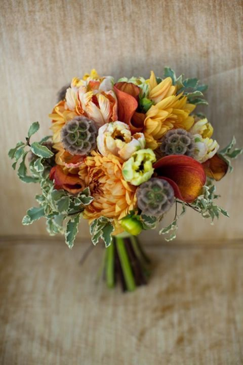 Harvest Gold Bouquet with Dahlias, Tulips, and Seed Pods for an Autumn Wedding