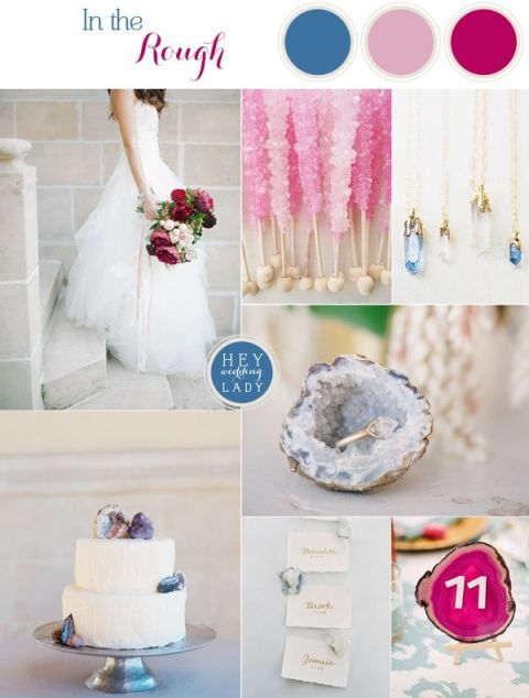 In the Rough - Raw Gem and Geode Wedding Inspiration in Iridescent Crystal Hues | See More! https://heyweddinglady.com/raw-gem-geode-wedding-inspiration/