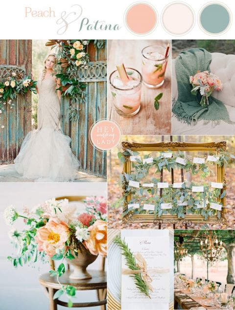 Peach and Patina -Romantic End of Summer Garden Wedding Inspiration | See More! https://heyweddinglady.com/peach-and-patina-end-of-summer-garden-wedding/