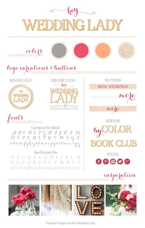 Branding a Wedding Blog - The Brand Design Board for the new Hey Wedding Lady | See More! https://heyweddinglady.com/branding-wedding-blog/