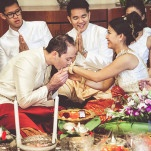 A Multicultural Wedding with a Traditional Cambodian Ceremony before a Western Reception | Bonnallie Brodeur Photography | See More! https://heyweddinglady.com/luxurious-multicultural-wedding-in-red-and-gold/
