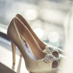 Champagne Peep Toe Wedding Shoes| Bonnallie Brodeur Photography | See More! https://heyweddinglady.com/luxurious-multicultural-wedding-in-red-and-gold/