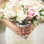 Bouquet of Blush and Ivory Roses and Gardenias | Bonnallie Brodeur Photography | See More! https://heyweddinglady.com/luxurious-multicultural-wedding-in-red-and-gold/