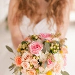 Pink, Ivory, and Peach Bridal Bouquet | Kirstyn Marie Photography | Relaxed Glam Southern Barn Wedding