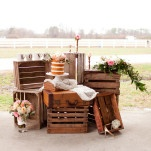 Eclectic Rustic Wedding Cake Display with Crates and Lace | Kirstyn Marie Photography | Relaxed Glam Southern Barn Wedding