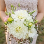 Bridesmaids Wore Neutral Lace Dresses and Carried Ivory Dahlias Bouquets | J&J Photography | Classic Southern Ivory and Gold Wedding