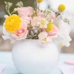 Yellow, Peach, and Pink Petite Centerpiece | Jessica Little Photography | Retro Candy Shop Anniversary Shoot