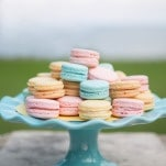 Pastel Macarons in Pink, Yellow, and Blue | Jessica Little Photography | Retro Candy Shop Anniversary Shoot