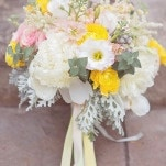 Pastel Yellow and Pink Bouquet | Jessica Little Photography | Retro Candy Shop Anniversary Shoot