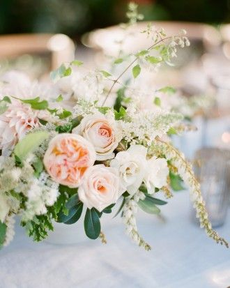 Delicate Blush Rose Centerpiece | KT Merry |Sophisticated Autumn Wedding Inspiration in Blush and Bronze