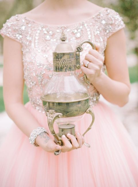 Sparkling Blush Gown with a Vintage Bronze Ewer | Mariel Hannah Photography |Sophisticated Autumn Wedding Inspiration in Blush and Bronze