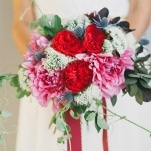 Red Roses and Pink Peonies with Snow White Flowers and Thistle Buds | Alexandra Wallace Photography | Bold Boho Bridal Style for Autumn