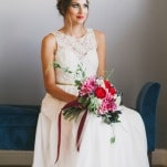Sweeping Sarah Seven Wedding Dress with Lace Details | Alexandra Wallace Photography | Bold Boho Bridal Style for Autumn