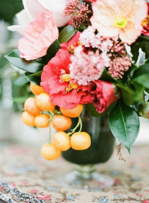 Poppy and Citrus Centerpiece