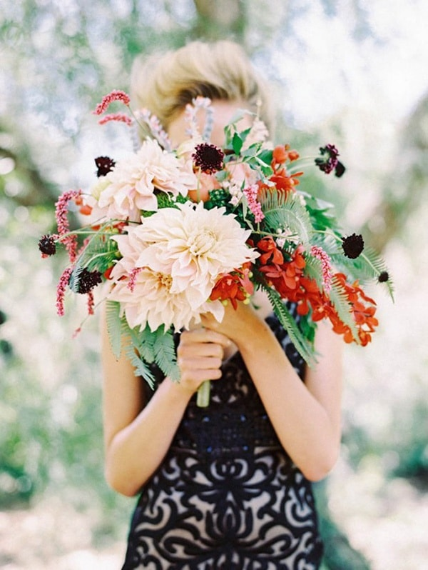Black Patterned Wedding Dress with Wild Autumn Bouquet | Secrets of A Stylist Workshop | Jewel Toned Autumn Wedding Inspiration