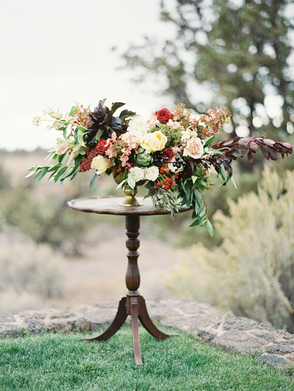 Foraged Fall Centerpiece | Erich McVey Photography | Jewel Toned Autumn Wedding Inspiration