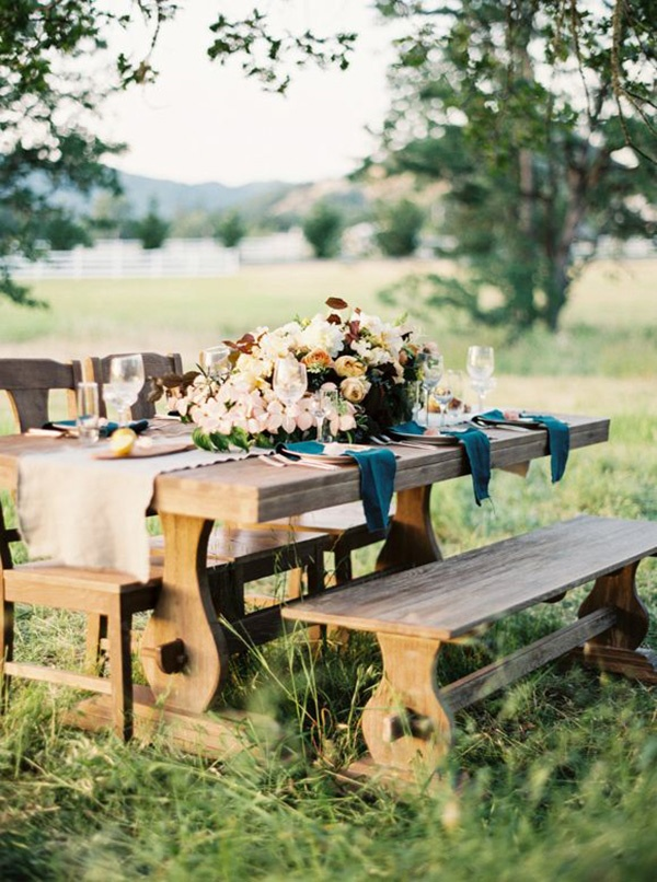 Vibrant Fall Farm Table | Anne Blodgett Photography | Jewel Toned Autumn Wedding Inspiration