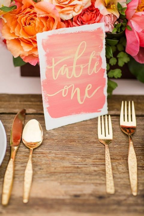 Calligraphy Watercolor Table Number in Coral and Gold