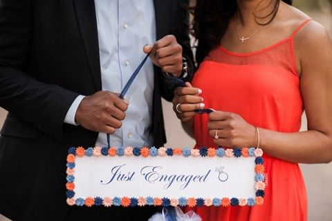 Adorable Just Engaged Sign | Anna Smith Photography | Chic Styled Engagement Shoot with Vintage Details