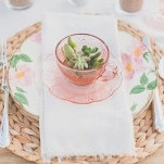 Floral China and Vintage Pink Depression Glass Place Setting | As Ever Photography | Dreamy Desert Sunshine Wedding Inspiration