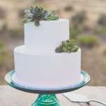 Simple Wedding Cake with Succulents on a Vintage Green Glass Stand | As Ever Photography | Dreamy Desert Sunshine Wedding Inspiration