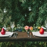 Botanical Inspired Wedding Table with Red Pears | Nhiya Kaye Photography | Minimalist Elegance with Country Chic Details