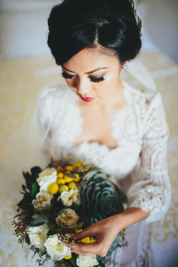 Gorgeous lace wedding dress with dramatic bridal makeup yes dear