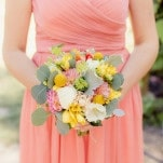 Coral Bridesmaid Dress with Green, White, and Yellow Flowers | Figlewicz Photography | Coral and Green Botanical Gardens Wedding