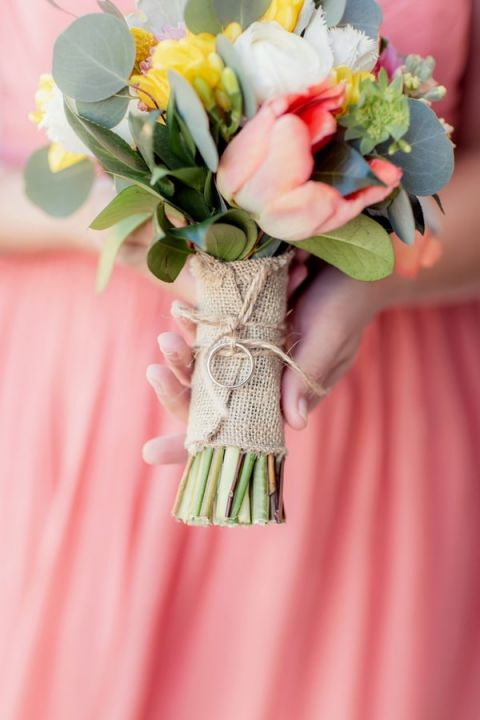 Bouquet Tied with Burlap and the Wedding Ring | Figlewicz Photography | Coral and Green Botanical Gardens Wedding