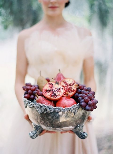 Silver Vessel of Berries and Pomegranates | Jose Villa Photography | Mauve Wedding Inspiration with Rich Berry