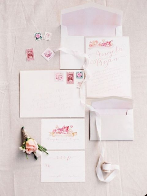 Delicate Watercolor Wedding Invitation | Tara Francis Photography | Mauve Wedding Inspiration with Rich Berry