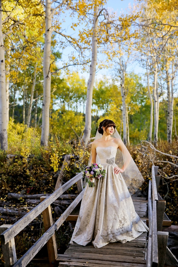 Lakeside Bridal Portraits with an Elegant Damask Ball Gown | Modern Glam Autumn Wedding in Fig and Gold | Pepper Nix Photography and Michelle Leo Events