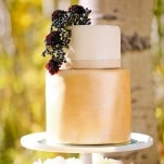 Matte Gold Wedding Cake with Deep Purple Flowers | Modern Glam Autumn Wedding in Fig and Gold | Pepper Nix Photography and Michelle Leo Events