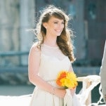 Radiant Modern Bride in Silo City   Christina Laing Photography   Whimsical Urban Wedding in Aqua, Orange, and Yellow