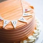 Petite Wedding Cakes in Retro Chic Shades | Christina Laing Photography | Whimsical Urban Wedding in Aqua, Orange, and Yellow