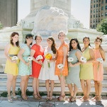 Bridesmaids in Shades of Yellow, Orange, and Aqua | Christina Laing Photography | Whimsical Urban Wedding in Aqua, Orange, and Yellow