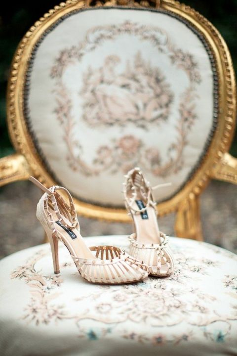 Vintage French Chair in Mint and Copper Toile with Chic Wedding Shoes