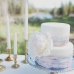 Pastel Watercolor Wedding Cake | Ellie Asher Photo | Dreamy Mountain Lodge Wedding in Fuchsia and Mint