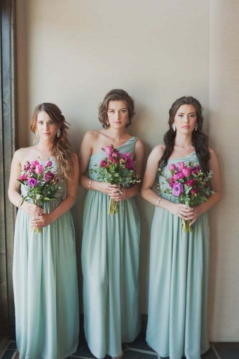 Bridesmaids in One Shoulder Goddess Gowns | Ellie Asher Photo | Dreamy Mountain Lodge Wedding in Fuchsia and Mint