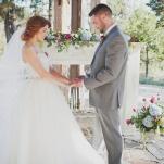 Romantic Mountain Wedding Ceremony   Ellie Asher Photo   Dreamy Mountain Lodge Wedding in Fuchsia and Mint