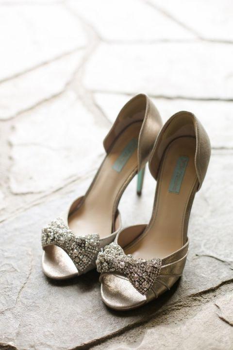 Silver Peep Toe Wedding Shoes | Amanda Watson Photography | Sophisticated Countryside Wedding in Sparkling Blush