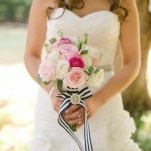 Pink Rose Bouquet with Navy and White Striped Ribbons   Amanda Watson Photography   Sophisticated Countryside Wedding in Sparkling Blush