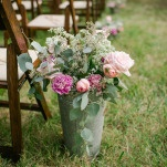 Flower Bucket Aisle Markers | Amanda Watson Photography | Sophisticated Countryside Wedding in Sparkling Blush