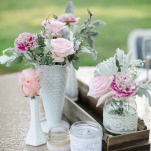 Pink Roses and Lambs Ear in Vintage Milk Glass on Blush Sequin Linens   Amanda Watson Photography   Sophisticated Countryside Wedding in Sparkling Blush