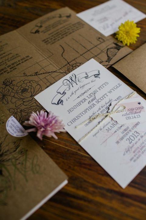 Elegant Botanical Wedding Invitation | Amanda Watson Photography | Sophisticated Countryside Wedding in Sparkling Blush